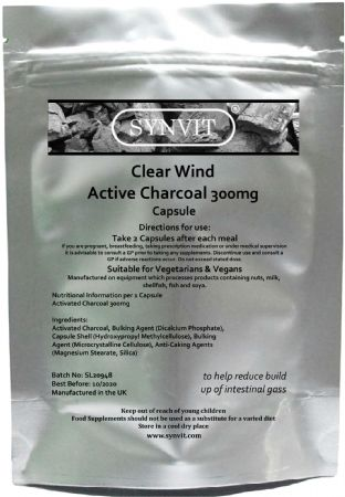Clear Wind Active Charcoal Capsules 300mg Detox | Toxins Bloating. Flatulence Relief